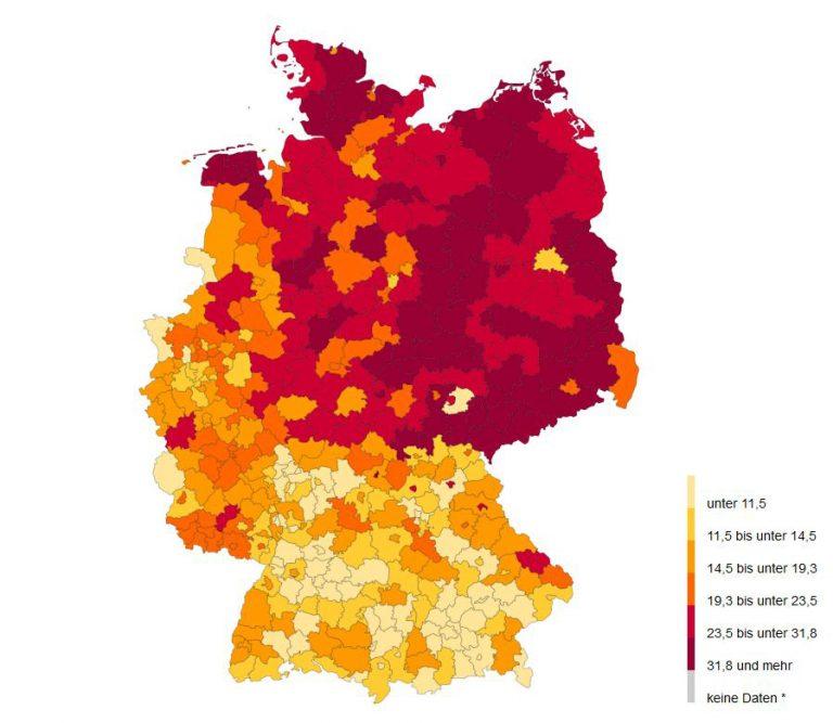 Karte mit Anteil der Schutzsuchenden an der ausländischen Bevölkerung nach Landkreisen in Deutschland
